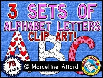 VALENTINE ALPHABET CLIP ART BUNDLE - 3 SETS OF UPPERCASE LETTERS