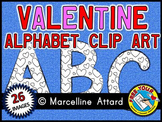 VALENTINE ALPHABET CLIP ART SET (BLACK AND WHITE UPPERCASE LETTERS CLIPART)
