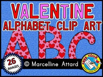 VALENTINE ALPHABET CLIP ART SET - PINK AND RED UPPERCASE LETTERS
