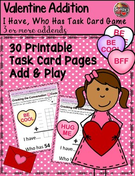 VALENTINE Addition I Have, Who Has Task Cards