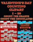 VALENTINE BUNDLE COUNT HEARTS AND COUNT CHOCOLATES 1-20 CLIPART