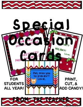END OF YEAR CARDS FROM THE TEACHER- Plus More Cards - Just Add Candy!