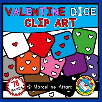 VALENTINE DICE CLIPART: VALENTINE'S DAY CLIPART: MATH CLIPART: COLORFUL DICE