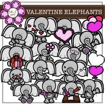VALENTINE ELEPHANTS digital clipart (color and black&white)