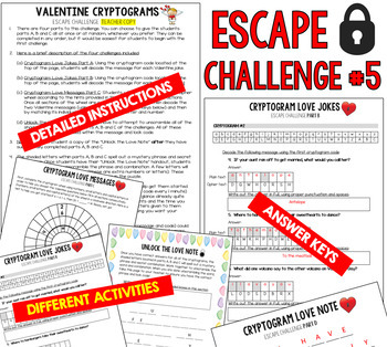 VALENTINEu0027S DAY Escape Room (Trivia U0026 Games For Middle/High School Students)