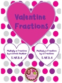 VALENTINE'S DAY Multiply Fractions 4th, 5th, 6th Grade