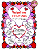 VALENTINE FRACTIONS - Task Cards - 4th, 5th, 6th Grades