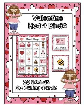 VALENTINE BINGO CLASS  PARTY GAME 20 UNIQUE BOARDS
