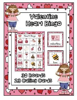 VALENTINE  BINGO CLASS  PARTY GAME 30 UNIQUE BOARDS