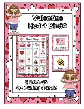 VALENTINE BINGO PARTY GAME 4 UNIQUE BOARDS