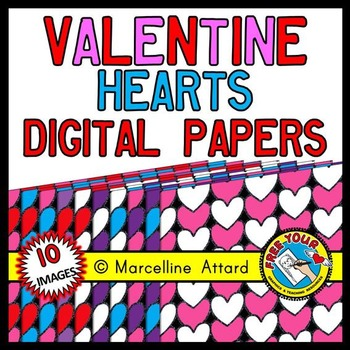 HEARTS DIGITAL PAPERS: VALENTINE'S DAY CLIPART BACKGROUNDS: HEARTS CLIPART