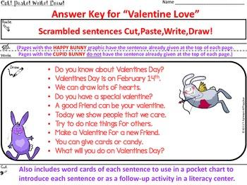VALENTINE LOVE ~ Cut, Paste, Write, Draw! Scrambled Sentences