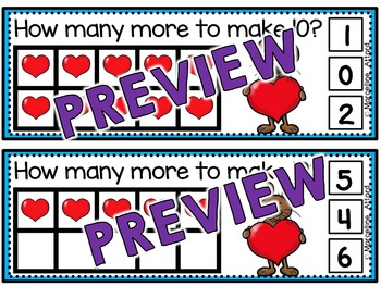VALENTINE'S DAY KINDERGARTEN MATH (HEARTS MAKING TEN TASK CARDS)