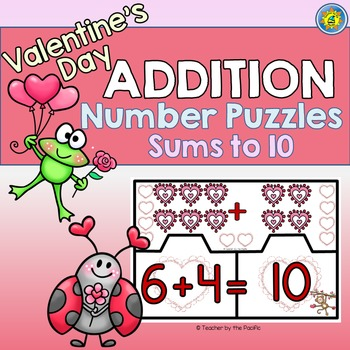 VALENTINE Math Center ~ ADDITION Puzzles