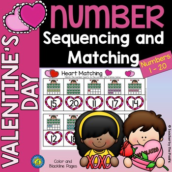 VALENTINE Math - Number Sequencing and Matching  1 - 20