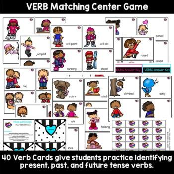 Nouns and Verbs Valentine's Tasks Game Set