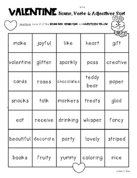 VALENTINE Nouns, Verbs and Adjectives Sorting Worksheet Pack
