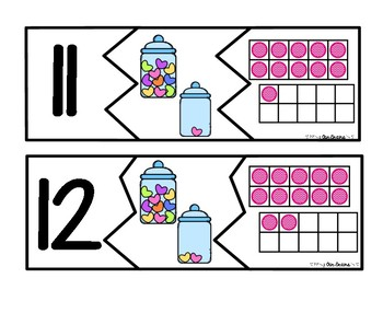 VALENTINE Number Puzzles 11-20 - Numerals, Pictures, & Ten Frames