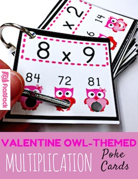 VALENTINE Owl MULTIPLICATION Facts Poke Game
