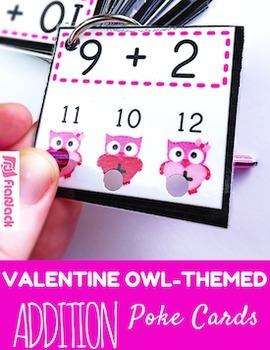 VALENTINE Owl Poke MATH FACTS Bundle