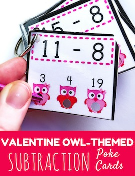 VALENTINE Owl SUBTRACTION Facts Poke Game