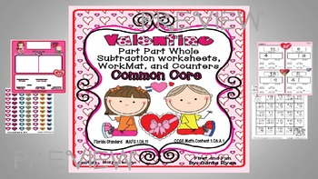 VALENTINE PART PART WHOLE SUBTRACTION WORKSHEET MAT n COUNTERS COMMON CORE MAFS