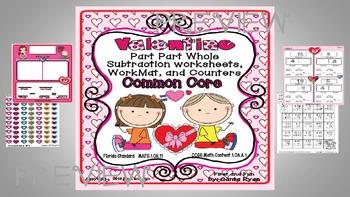 VALENTINE PART PART WHOLE SUBTRACTION WORKSHEET MAT n COUNTERS COMMON CORE MAFS