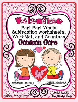 VALENTINE PART PART WHOLE SUBTRACTION WORKSHEET MAT n COUN