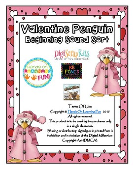 VALENTINE PENGUIN BEGINNING INITIAL SOUND SORT