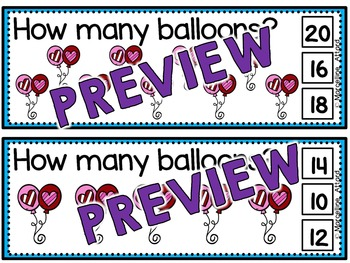 VALENTINE'S DAY ACTIVITY KINDERGARTEN (SKIP COUNTING CLIP CARDS) COUNT BY 2'S