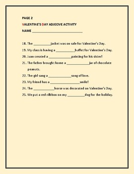 VALENTINE'S DAY: AN ADJECTIVE ACTIVITY