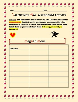 VALENTINE'S DAY: A SYNONYM ACTIVIY