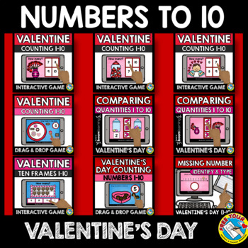 VALENTINE'S DAY ACTIVITIES PRESCHOOL MATH (COUNTING TO 10 BOOM CARDS BUNDLES)