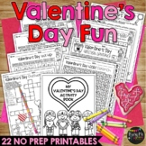 Valentine's Day Activities NO PREP Fun | Math & Reading Worksheets for February