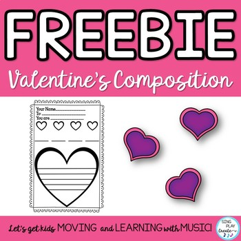 Freebie: Valentine's Day Music Class Composition Card for