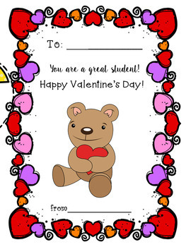 VALENTINE'S DAY CARDS FOR STUDENTS AND FOR TEACHERS !