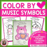 Valentine's Day Color by Music Notes Coloring Pages