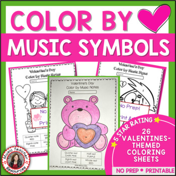 Music Coloring Sheets: 26 Valentine's Day Color by Music Notes and Symbol Pages