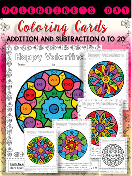 VALENTINE'S DAY - COLORING CARDS(WITH ADDITION AND SUBTRACTION 0-20) GRADE 1-2