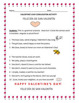 VALENTINE'S DAY CONJUGATION ACTIVITY: K-4, ESL