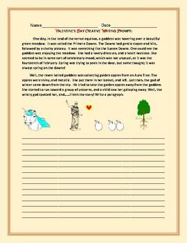 VALENTINE'S DAY CREATIVE WRITING PROMPT:MYTHOLOGICAL