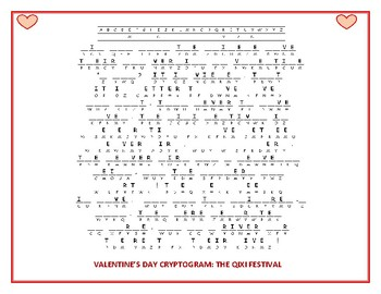 VALENTINE'S DAY CRYPTOGRAM: THE QIXI FESTIVAL