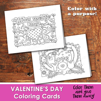 VALENTINE'S DAY Color In Cards