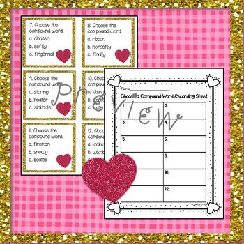 VALENTINE'S DAY Compound Words Task Cards