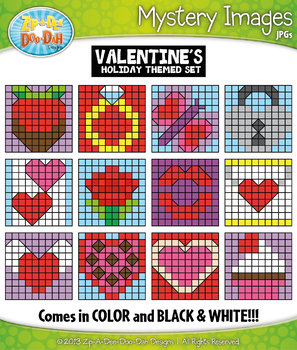 VALENTINE'S DAY Mystery Images Clipart {Zip-A-Dee-Doo-Dah Designs}