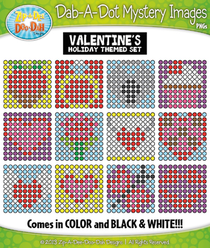 VALENTINE'S DAY Dab-A-Dot Mystery Images Clipart {Zip-A-Dee-Doo-Dah Designs}