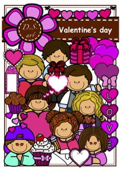 VALENTINE'S DAY Digital Clipart (color and black&white)