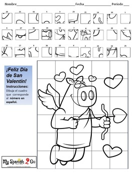 VALENTINE'S DAY: Draw the Square in the Grid for Spanish #'s 1 to 30