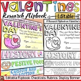 VALENTINE'S DAY EDITABLE FLIPBOOK: INFORMATIONAL WRITING RESEARCH TEMPLATE
