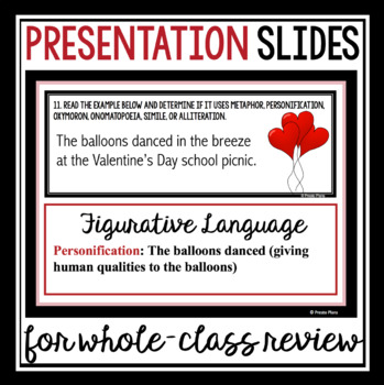 VALENTINE'S DAY FIGURATIVE LANGUAGE TASK CARDS ACTIVITY
